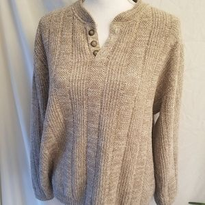 Oscar De La Renta Beige Marbled Ribbed Knit Sweat